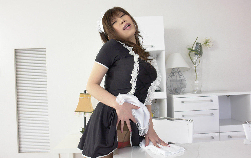 japanese maid humps the desk she is cleaning